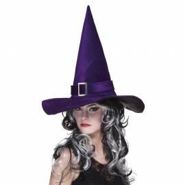 Chapeau pointu de sorcière de couleur avec boucle argentée