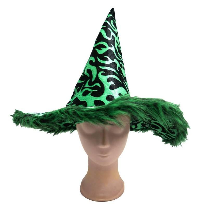 Chapeau pointu de sorcière avec motif de flammes noir et couleur