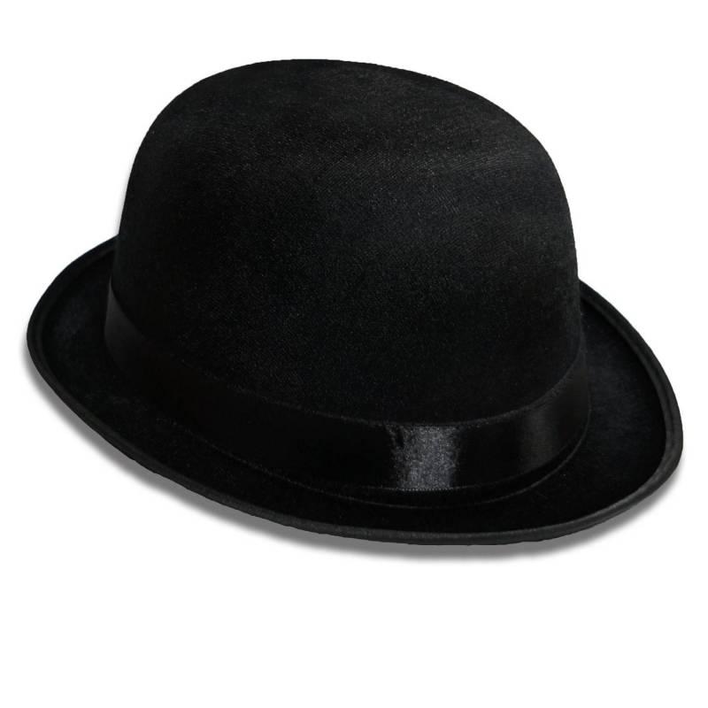 Chapeau melon noir en tissu aspect velours