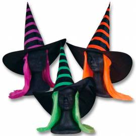 chapeau pointu noir à rayures de couleur avec cheveux de couleur pour adulte