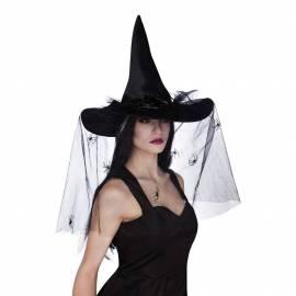 Chapeau pointu de sorcière de couleur avec voile noir