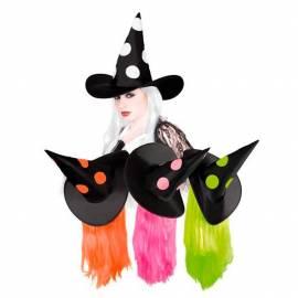 Chapeau pointu noir, de sorcière avec pois de couleur et cheveux