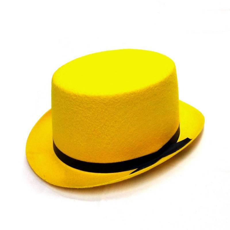 Haut de forme gibbus jaune avec ruban noir
