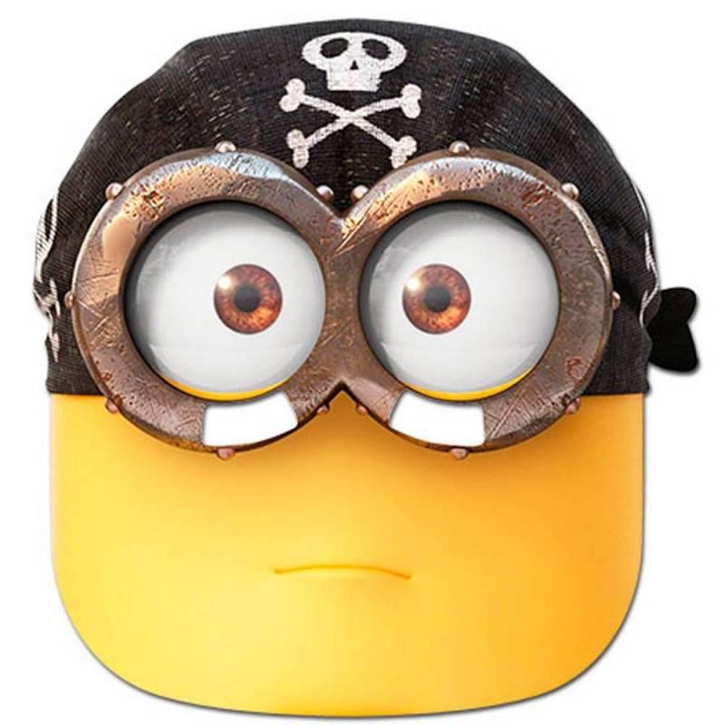 Masque de minion en carton avec un bandana de pirate