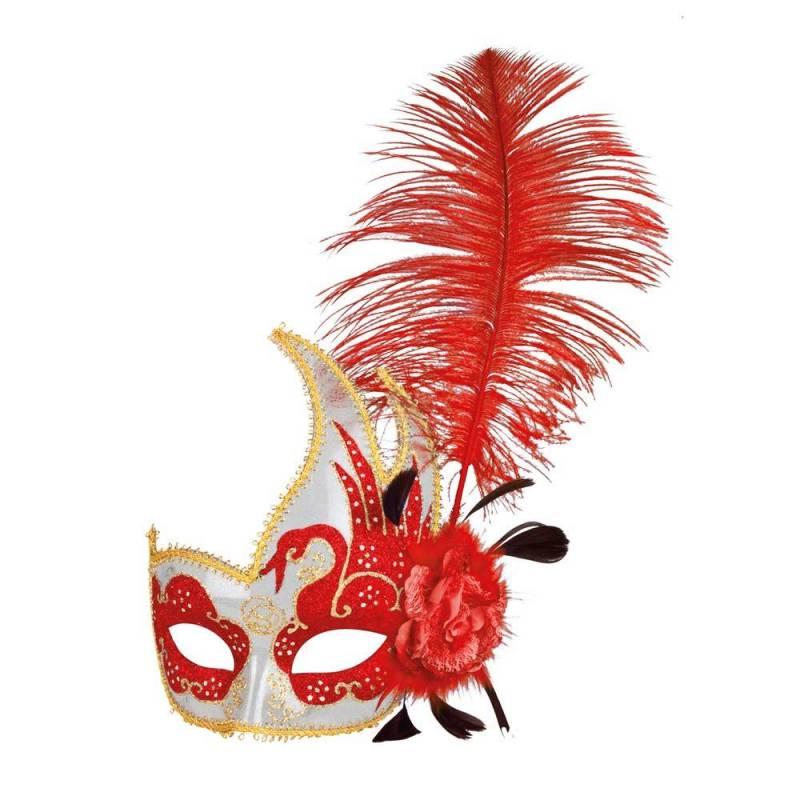 haute qualité magasin en ligne 60% de réduction Masque rigide vénitien de couleur avec une plume à gauche