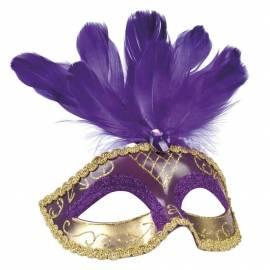 Masque rigide vénitien de couleur et doré avec 3 plumes sur le front
