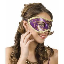 Masque rigide vénitien de couleur avec bordures dorées
