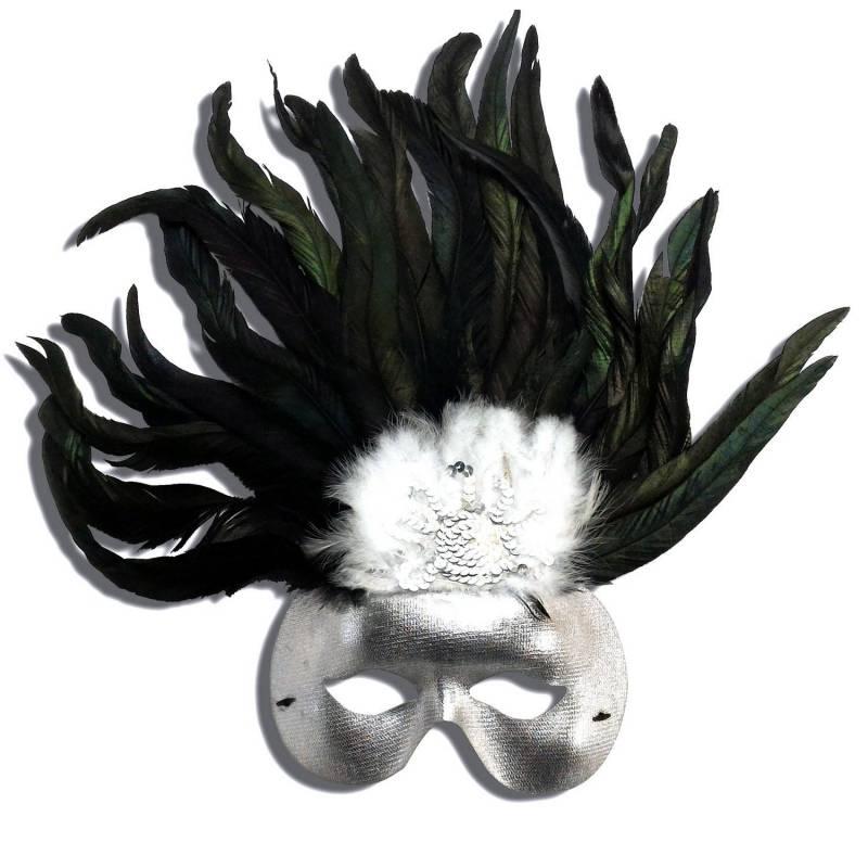 Loup en carton argenté avec de grandes plumes noires sur le front