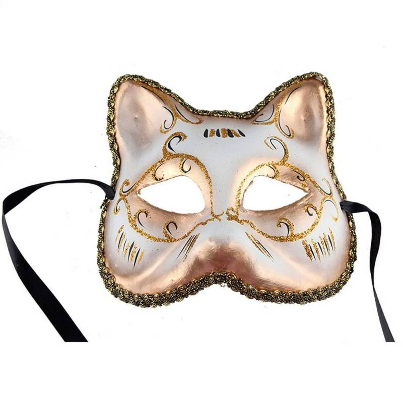 Masque de chat blanc et or en plastique