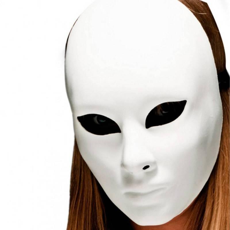 Masque blanc à décorer, en plastique