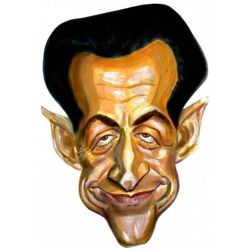 Masque en carton de la caricature de Nicolas Sarkozy