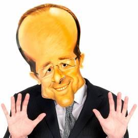Masque en carton de la caricature de François Hollande