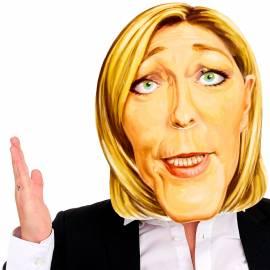 Masque en carton de la caricature de Marine Le Pen
