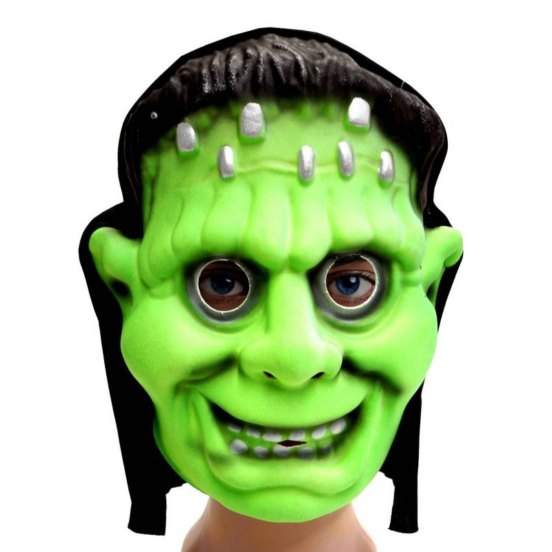 Masque en mousse d'un Frankenstein vert avec sa capuche
