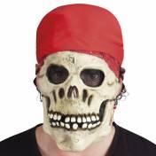 Masque en latex d'une tête de mort de pirate avec bandana