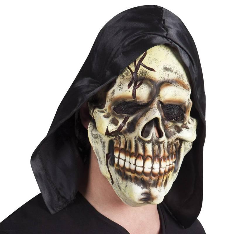 Masque en latex de tête de mort avec une capuche noire