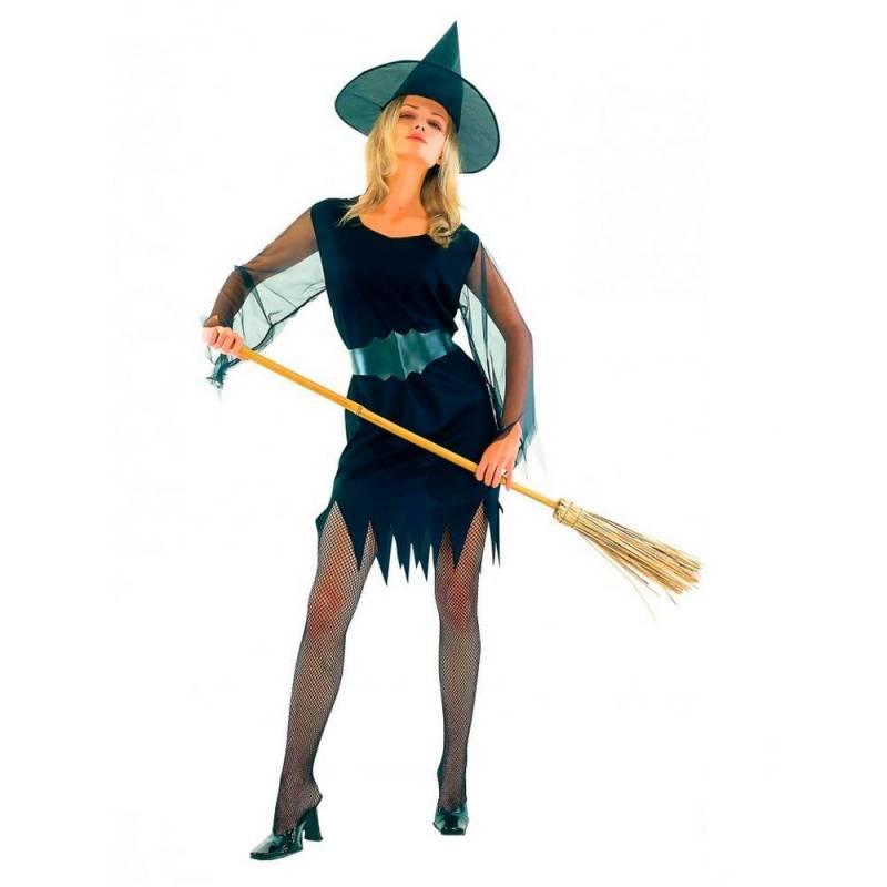 Déguisement de sorcière noir avec ceinture et chapeau