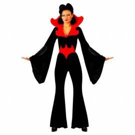 Deguisement sorciere noir avec grand col et ceinture rouge