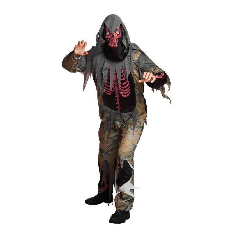 Déguisement de squelette rouge, mort-vivant