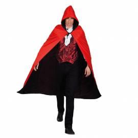 Cape rouge et noir réversible avec capuche
