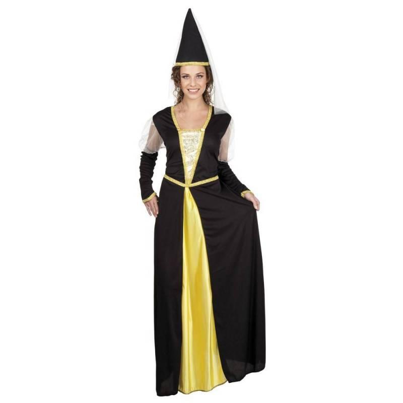 deguisement de princesse noir et jaune avec robe et chapeau pointu pour adulte
