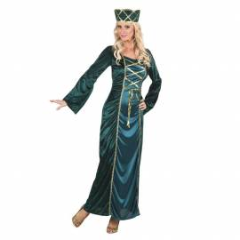 Déguisement de princesse bleu canard et or avec chapeau adulte