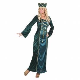 Déguisement adulte de princesse bleu canard et or avec chapeau