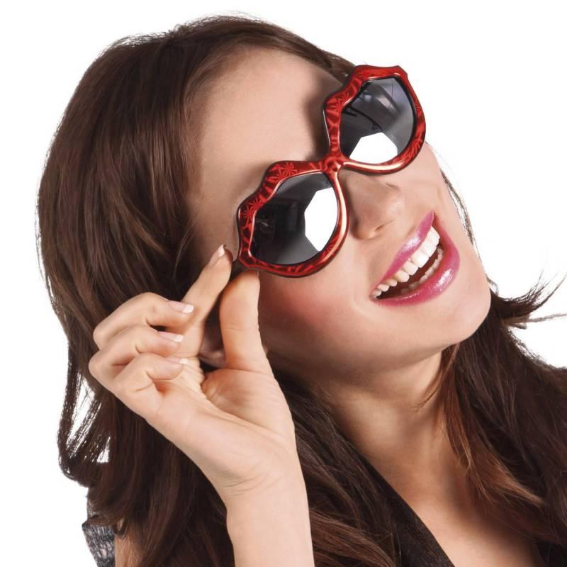 Lunettes rouge en forme de bouche, à verres noirs