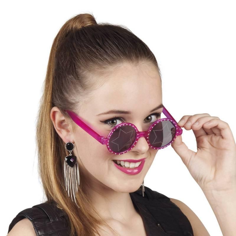 Lunettes roses avec strass sur la monture et une étoile sur les verres