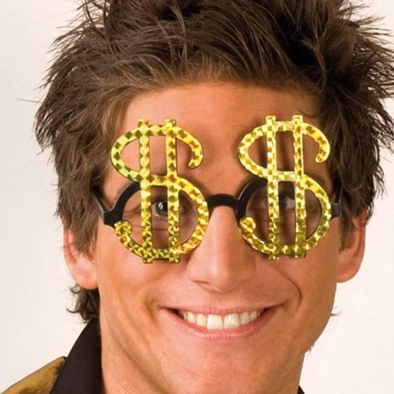 Lunettes en forme de dollars à paillettes dorées