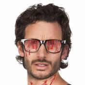 Lunettes à monture noire avec des dégoulinures de sang sur les verres