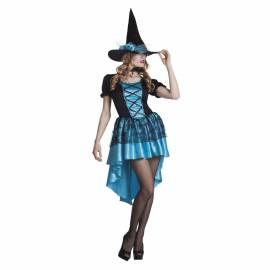 Déguisement adulte de sorcière bleu turquoise et noir
