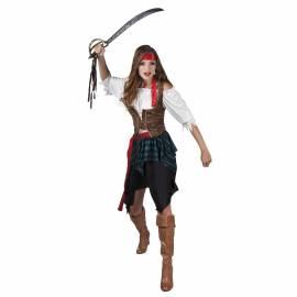 Déguisement adulte de femme pirate blanc, noir et rouge