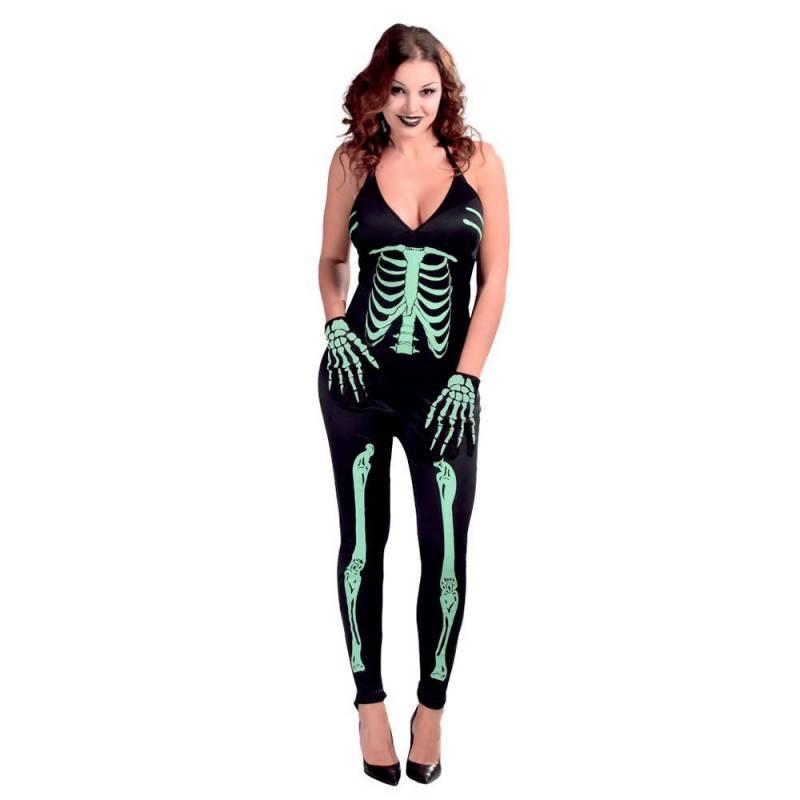 Combinaison pour femme avec squelette fluorescent