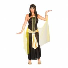 Déguisement d'égyptienne en robe noire, ceinture or et voile jaune