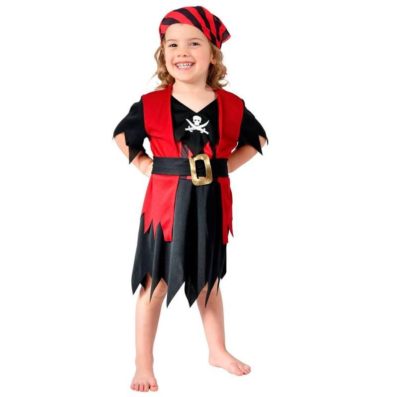 Déguisement enfant de pirate fille, rouge et noir