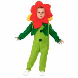 Déguisement enfant de fleur orange, verte et jaune