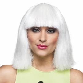Perruque blanche mi-longue avec frange, fluorescente