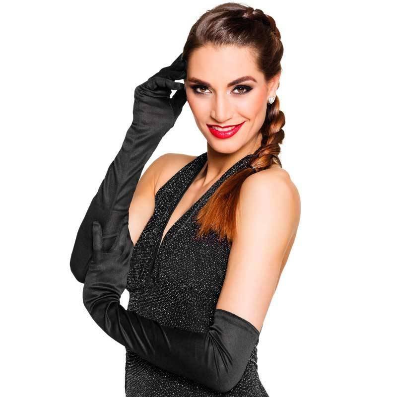 Longs gants (60 cm) en polyester noirs