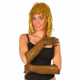 Gants mi-longs (40 cm) à paillettes rondes dorées