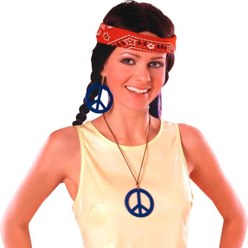 """Pack hippie (boucles d'oreilles + pendentif """"Peace and love"""" bleus)"""