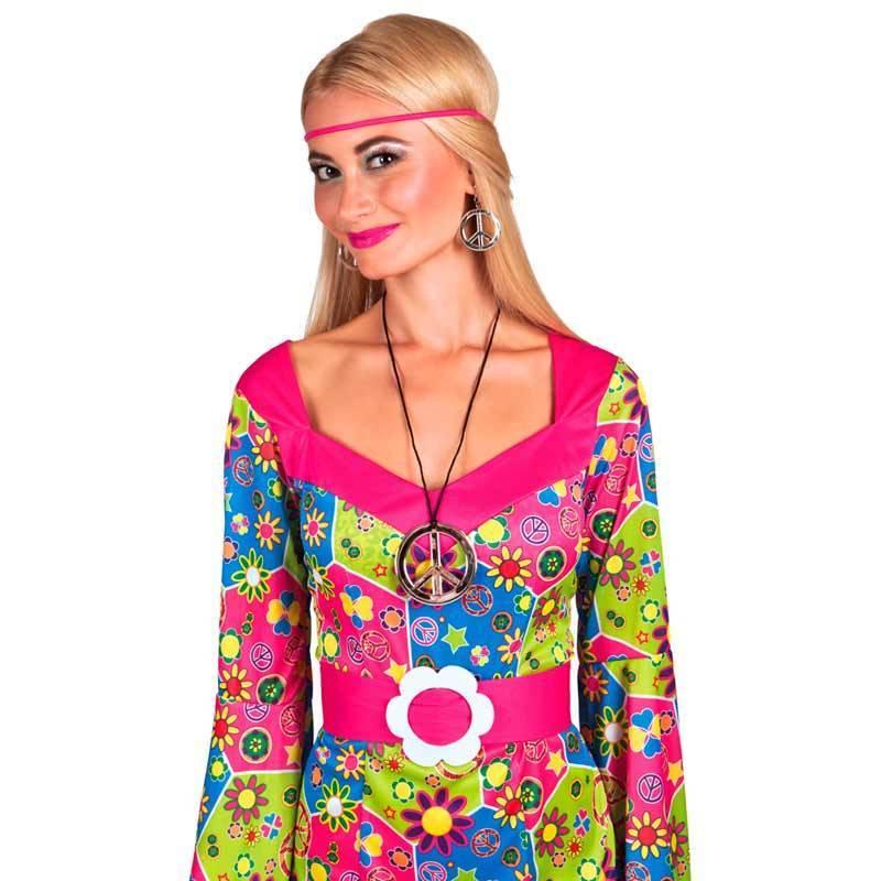 """Pack hippie (boucles d'oreilles + pendentif """"Peace and love"""" argenté)"""