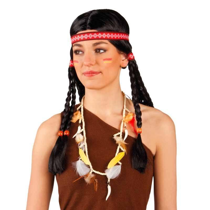 Collier d'indien avec perles, plumes et fausses dents