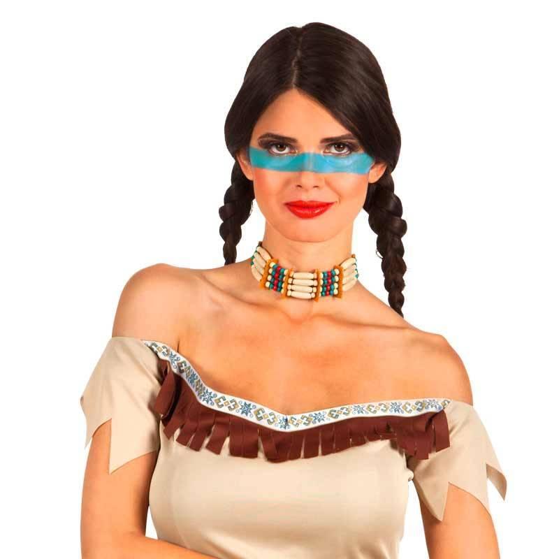 Collier d'indien à nouer avec perles allongées et rondes de couleur