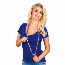 Trois colliers de perles bleu, blanc, rouge