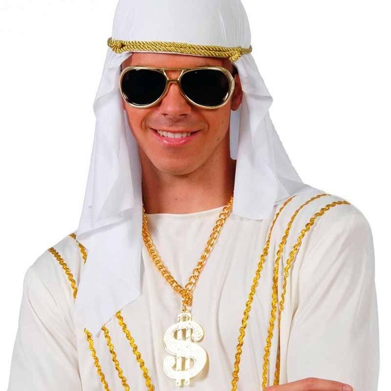 Pendentif bling bling avec chaine dorée et dollar doré