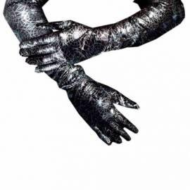 Longs gants (60 cm) noirs avec toiles d'araignées argentées