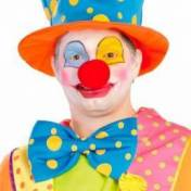 Gros noeud papillon bleu à pois jaunes de clown