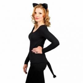 Serre-tête avec oreilles et queue de chat noir