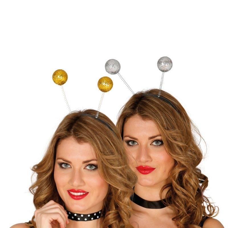 Serre-tête avec deux boules pailletées, soit en or, soit en argent